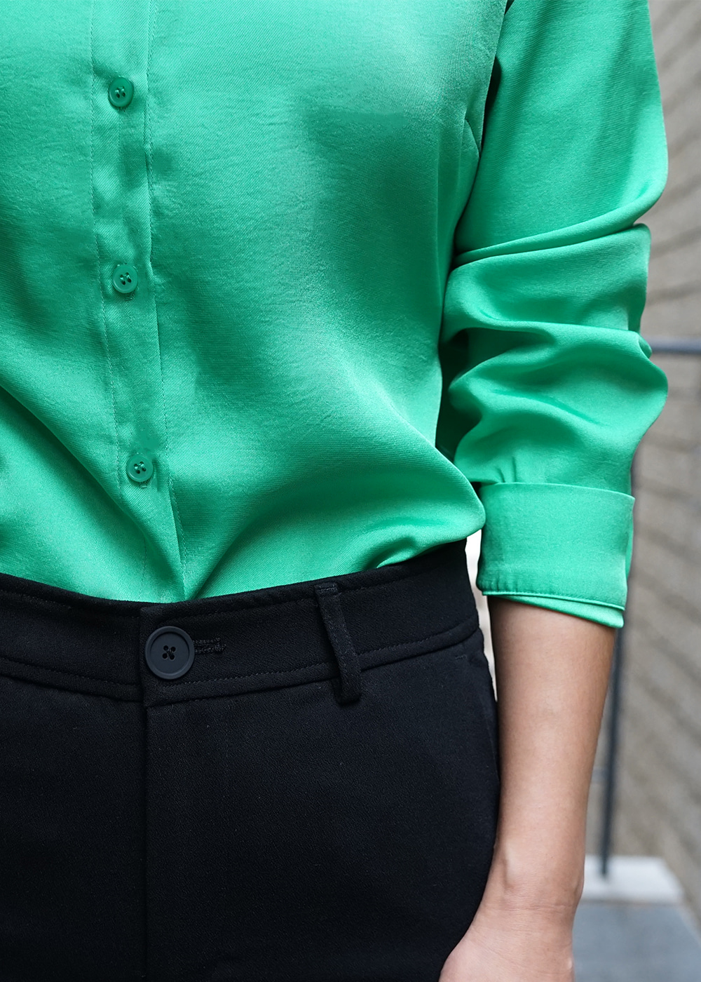 Back Tied Silky Shirts Green