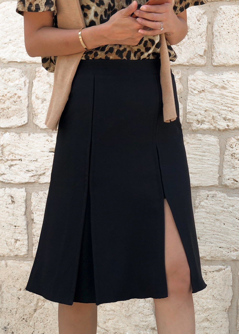 One Side Slit Jersey Flare Skirt