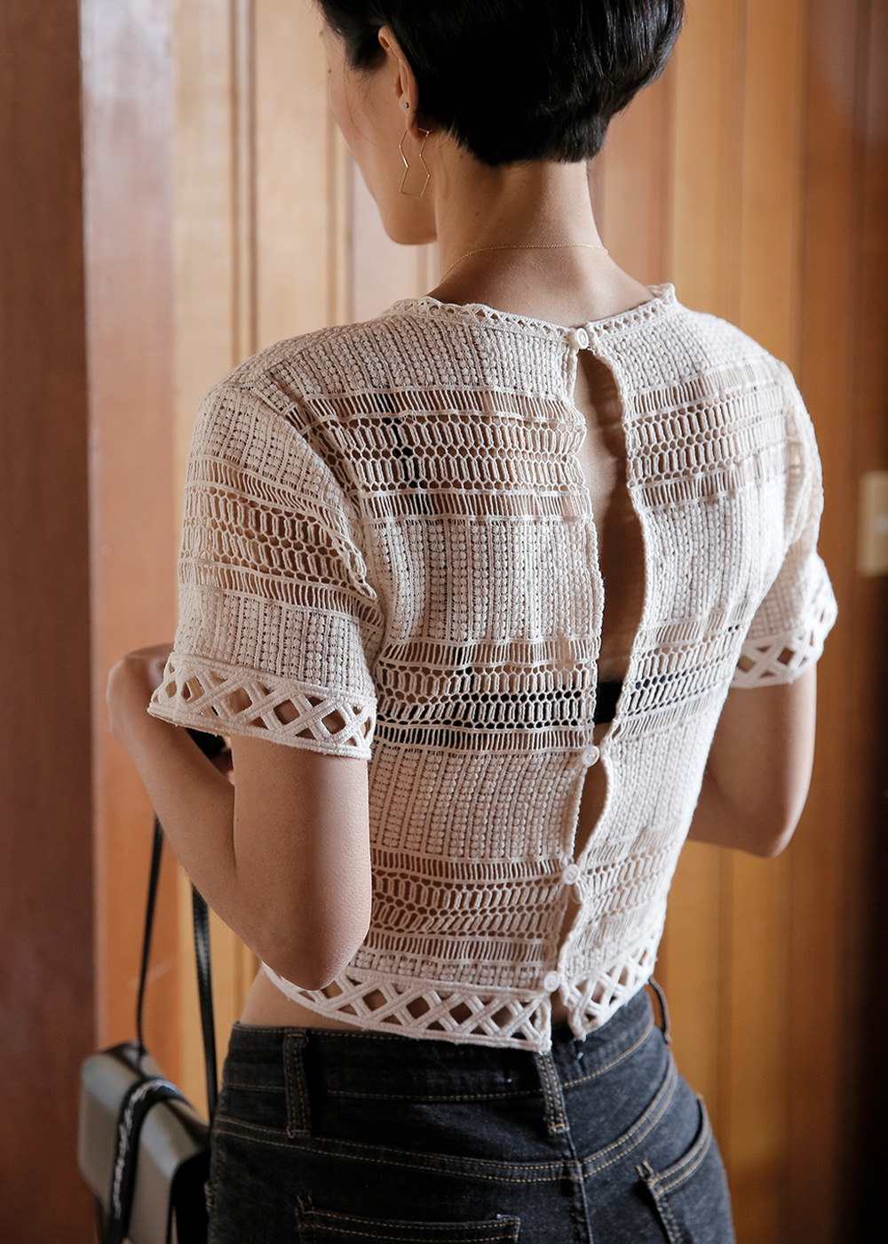 Came Upon Lace Crop Top Geometry