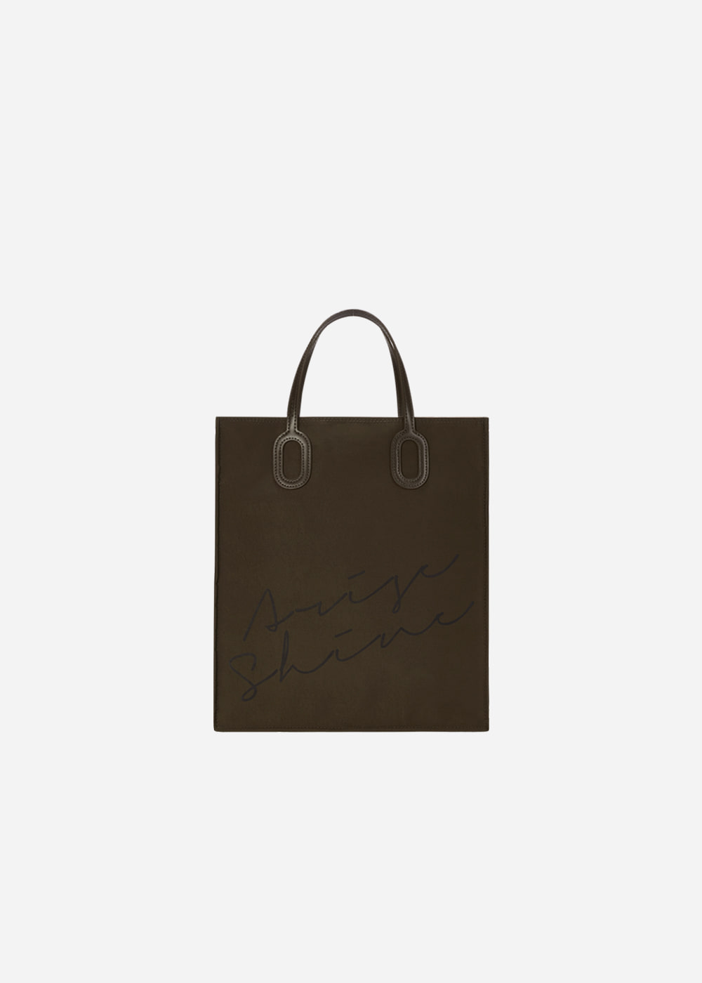 O Handle Tote Message Khaki